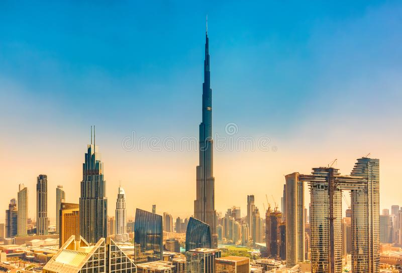 Amazing skyline cityscape with modern skyscrapers. Downtown of Dubai at sunny day, United Arab Emirates.  royalty free stock image