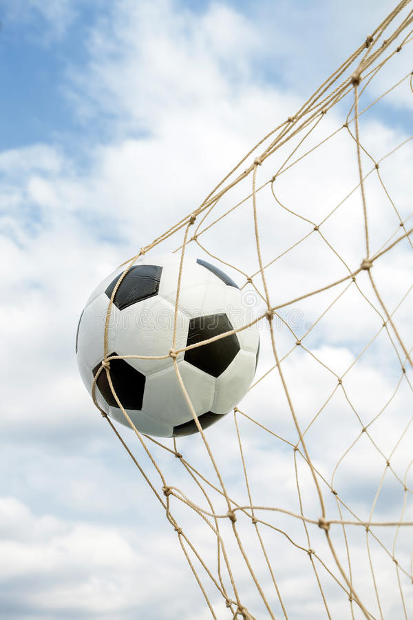 Amazing Soccer football Goal. stock images