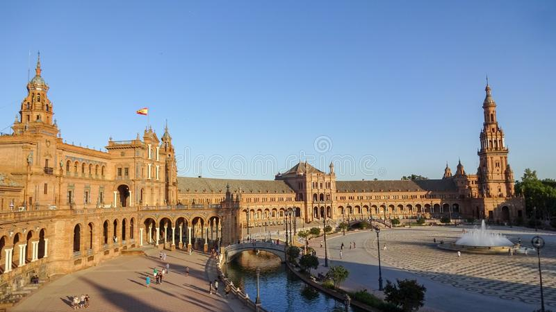 The amazing Spain Square, Plaza de Espana en Seville stock image