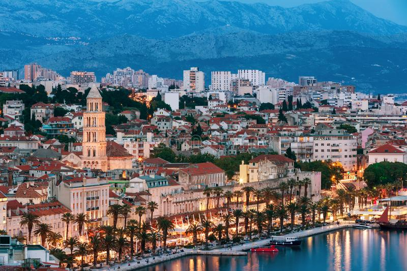 Amazing Split city waterfront panorama at blue hour, Dalmatia, Europe. Roman Palace of the Emperor Diocletian and tower of Saint stock photos
