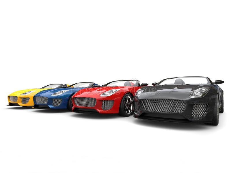 Amazing sports cars in multiple colors stock illustration