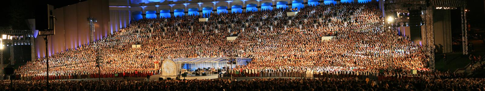 Amazing stage. Latvian Nationwide Song and Dance Celebration in Riga 2008 5.-12. July Latvia stock image