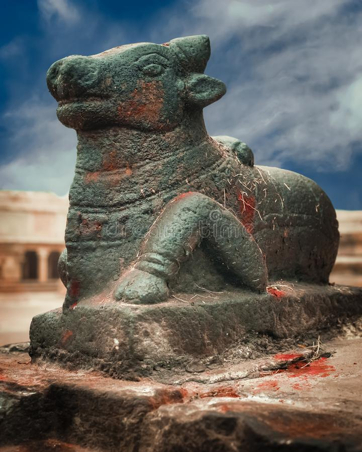 Satue of Nandi Bull at Brihadishvara Temple. South India. Amazing statue of Nandi Bull at Brihadishvara Temple. In Hinduism Nandi is a Shiva vehicle. Great stock photo
