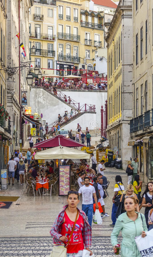 Amazing street view in the historic district of Lisbon - a busy place stock images