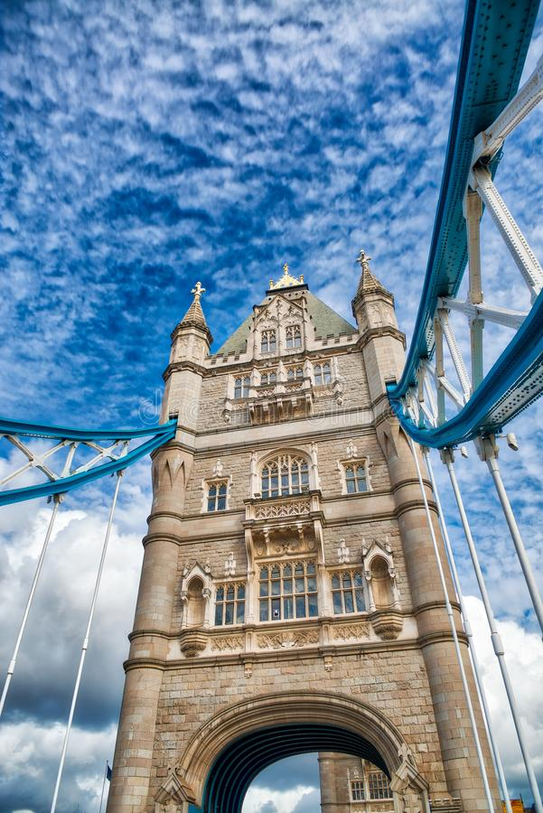 Amazing street view of Tower Bridge, London on a beautiful sunny stock images