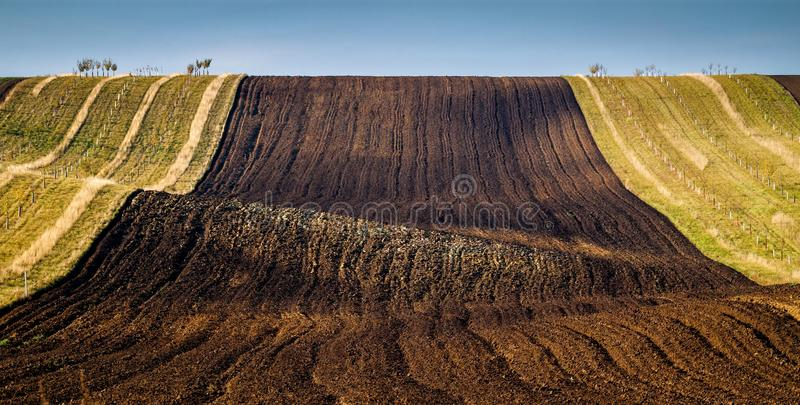 Amazing stripe patterns on waved fields of South Moravia. Called the Moravian Tuscany, green and brown autumn colors stock photos