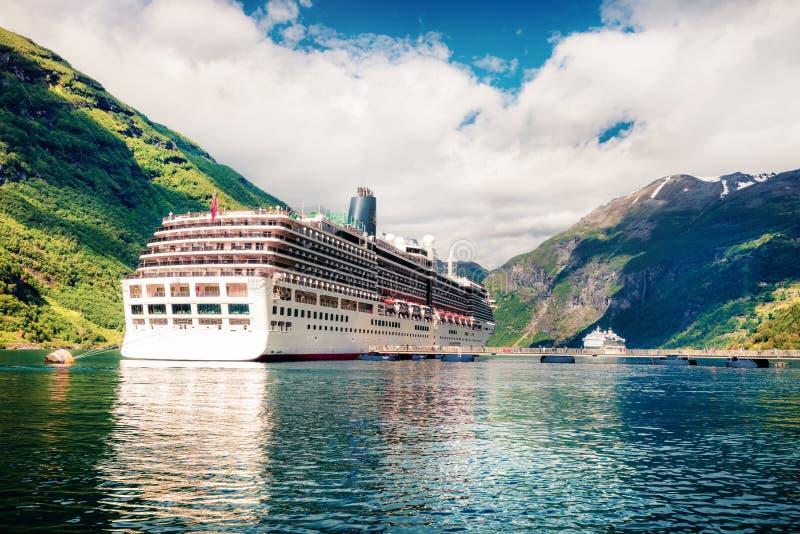 Amazing summer scene of Geiranger port, western Norway. Splendid view of Sunnylvsfjorden fjord. Traveling concept background. royalty free stock photo