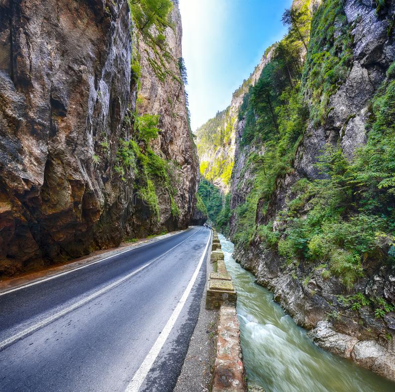 Amazing summer view of Bicaz Canyon/Cheile Bicazului. Canyon is one of the most spectacular roads in Romania. Impressive scene of Neamt County, Romania stock images