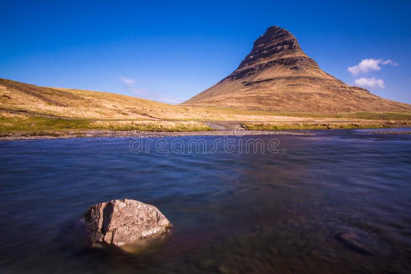 Amazing sunny summer day in Iceland Kirkjufell royalty free stock photography