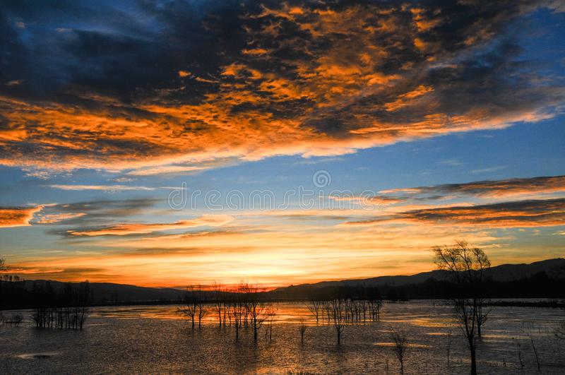 Amazing sunrise with blue sky and golden clouds. Nianhu Lake is located in a nature reserve in Yunnan Province. Nianhu Lake means miss someone. It is a habitat stock image