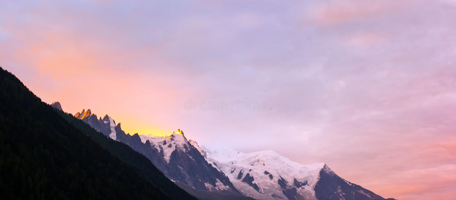 Amazing sunrise at the Mont Blanc range mountains stock images