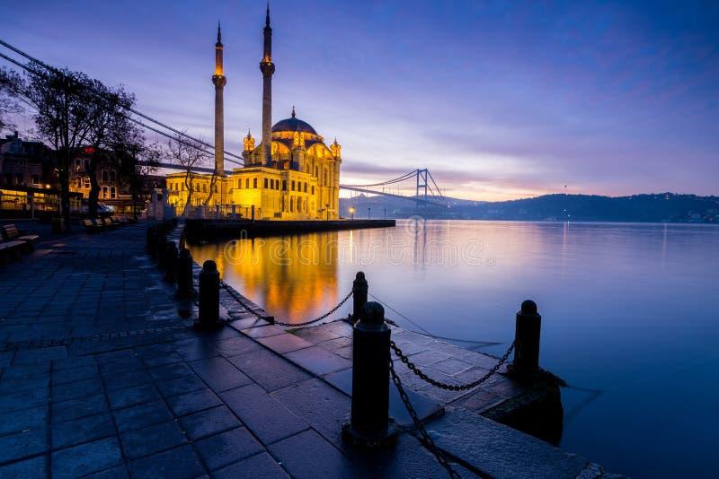 Amazing sunrise at ortakoy mosque, istanbul royalty free stock photos