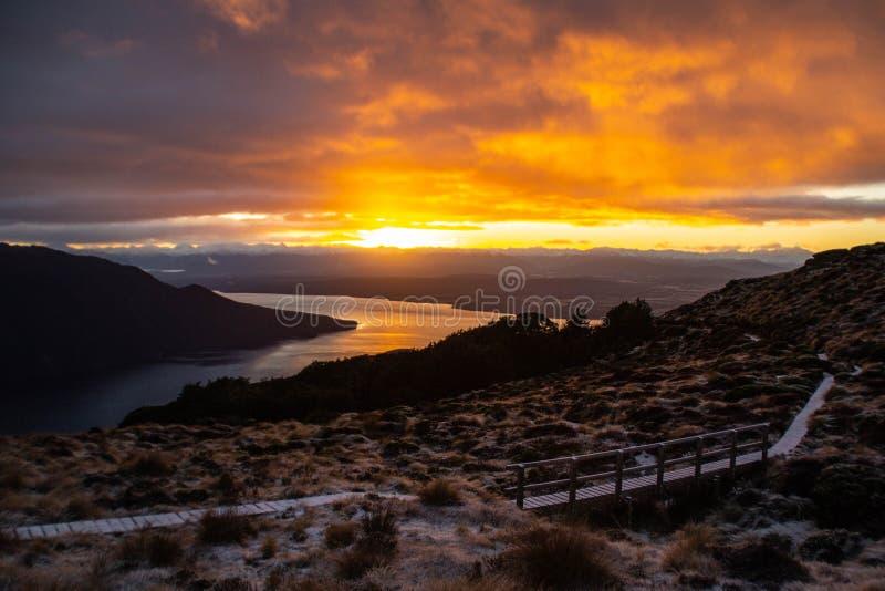 Sunrise in Fiordland National Park, New Zealand stock photos