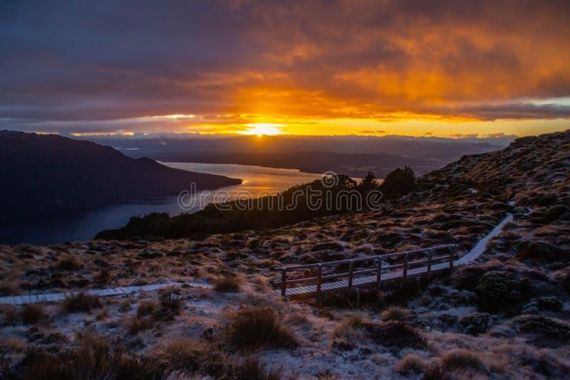 Sunrise in Fiordland National Park, New Zealand royalty free stock photos