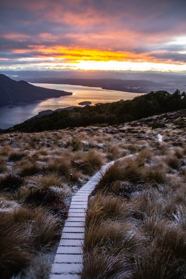 Sunrise in Fiordland National Park, New Zealand royalty free stock photo