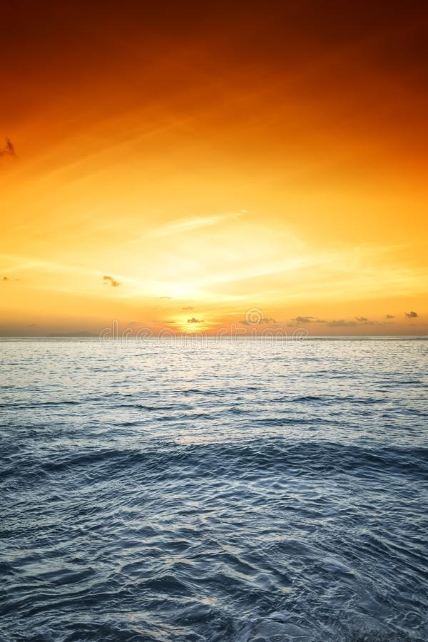 Amazing Sunrise over tropical ocean stock images