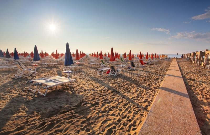 Amazing Sunrise On the Sea. Adriatic sea with shore. Lignano Sabbiadoro, Italy stock photo