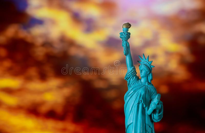 Amazing sunrise of Statue of Liberty over in new york stock photography