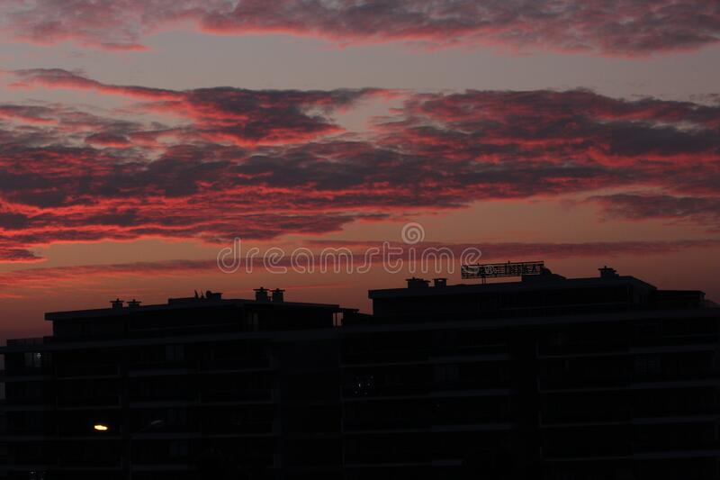 Amazing sunrise view with Orange and blue sky royalty free stock photography