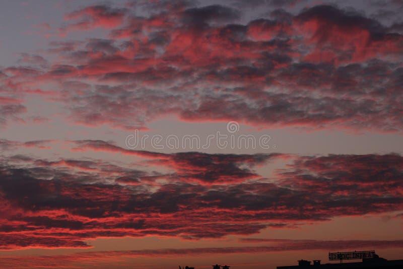 Amazing sunrise view with Orange and blue sky stock image