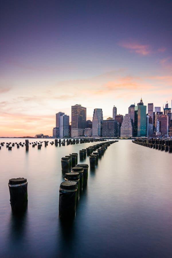 Amazing sunrise views to lower manhattan royalty free stock photography