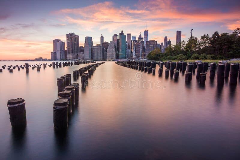 Amazing sunrise views to manhattan stock images