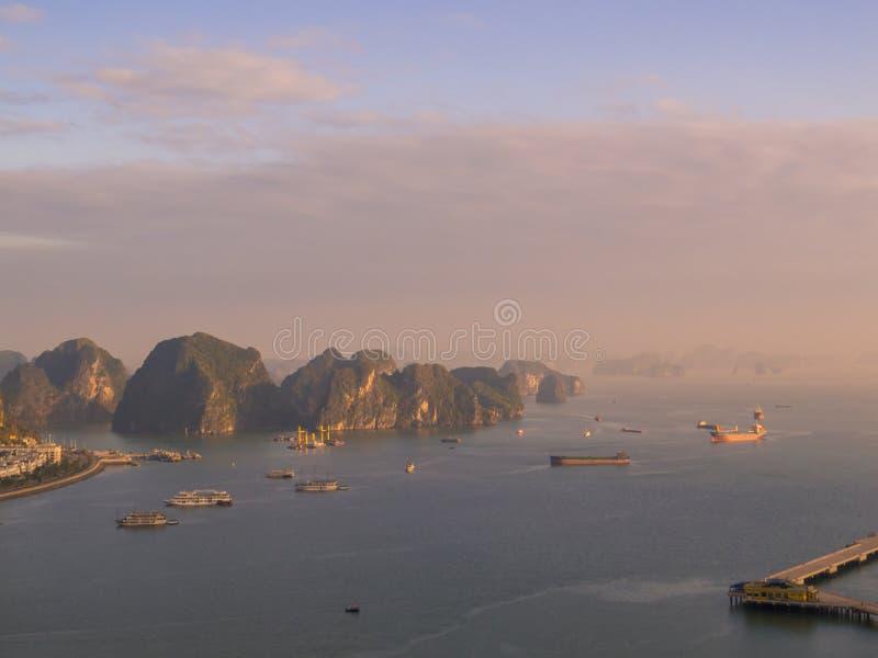 Halong Bay, Vietnam. Amazing sunset aerial view of Halong Bay, Vietnam royalty free stock photos