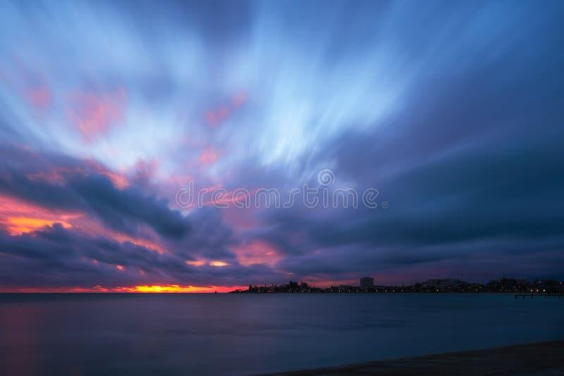 Amazing Sunset at Anse Vata Bay in Noumea, New Caledonia royalty free stock photography