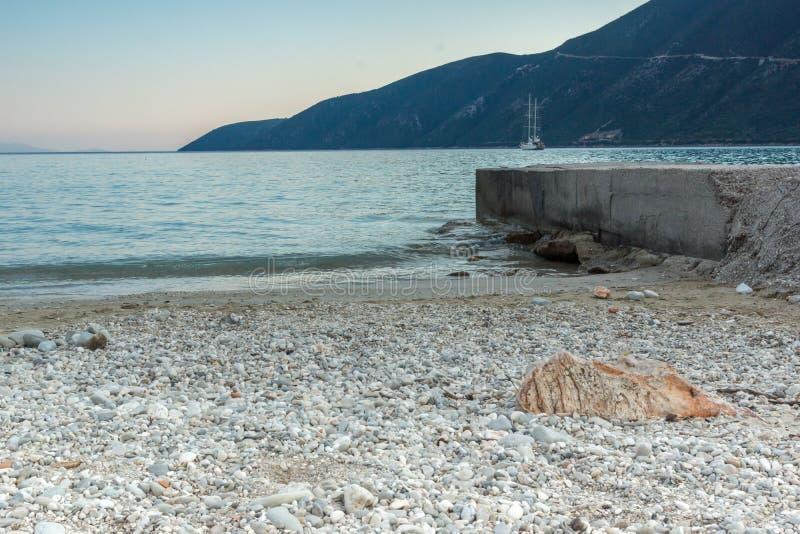 Amazing sunset on the beach of village of Vasiliki, Lefkada, Greece royalty free stock photography