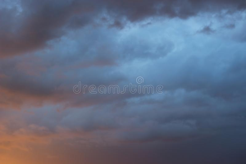 Amazing dramatic dark gray sky after storm stock images
