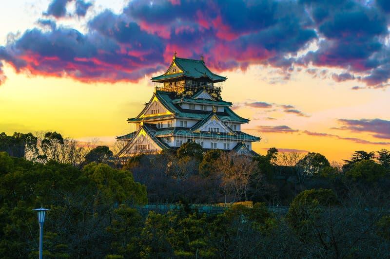 Amazing sunset Image of Osaka Castle royalty free stock photography