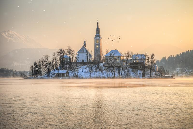 Amazing sunset at the lake Bled in winter, Slovenia. stock photography