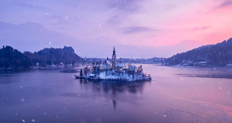 Amazing sunset at the lake Bled in winter, Slovenia. royalty free stock images