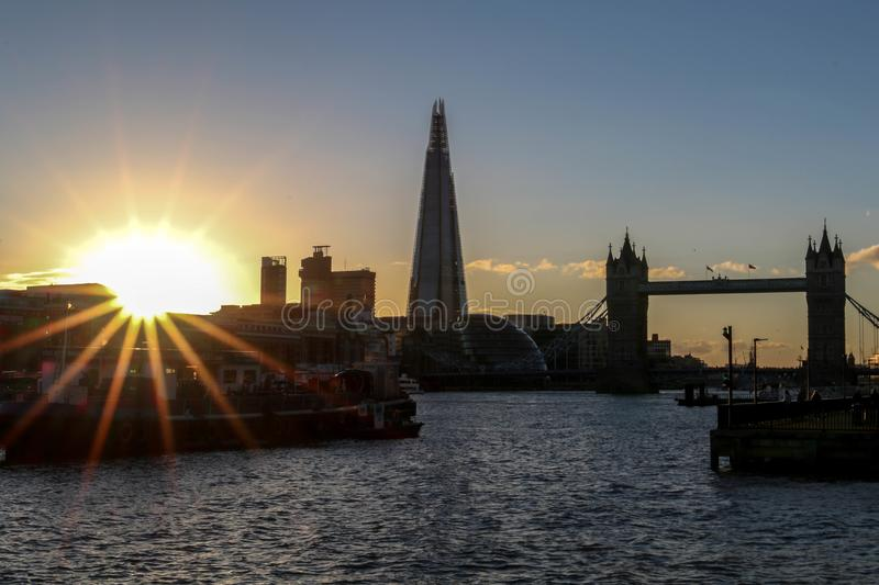 Amazing sunset in London against the backdrop of the Tower Bridge and The Shard royalty free stock photo