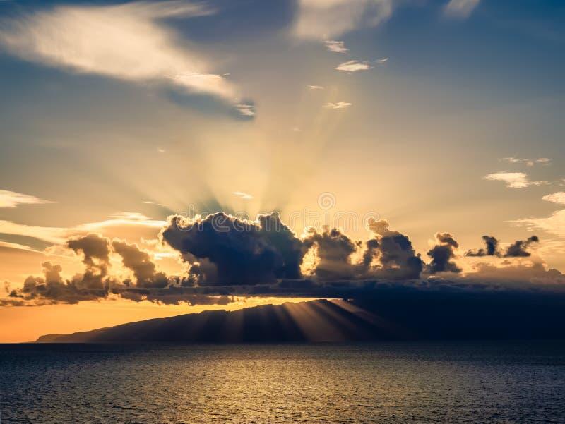 Amazing sunset over Atlantic ocean on the coast of Tenerife stock photo