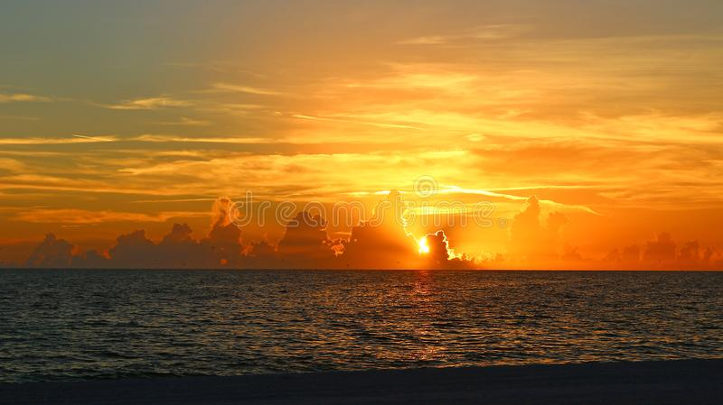 Amazing sunset over the Gulf of Mexico royalty free stock photo