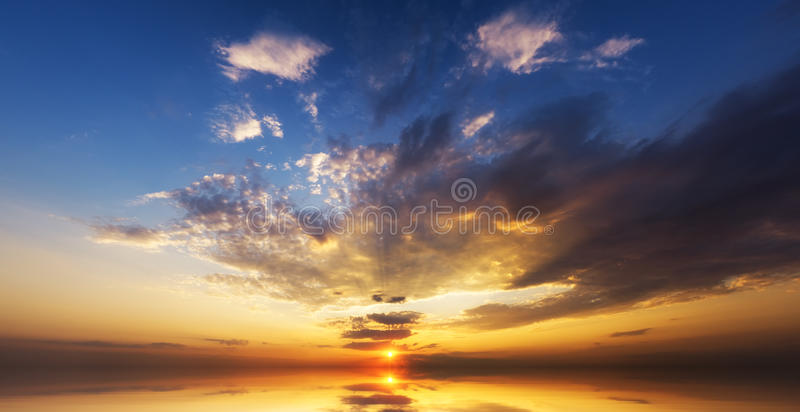 Amazing sunset over ocean. royalty free stock photography