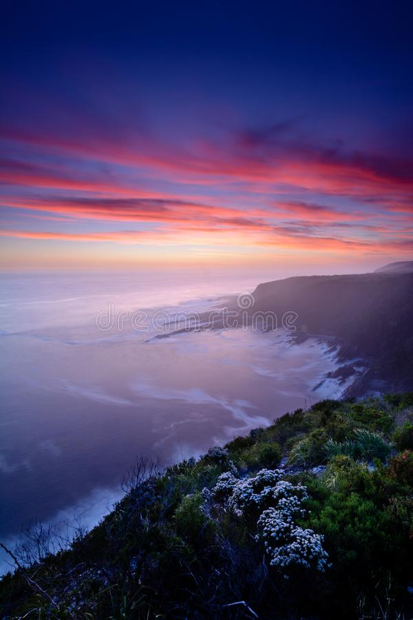 Amazing sunset over Storms River Mouth royalty free stock photo