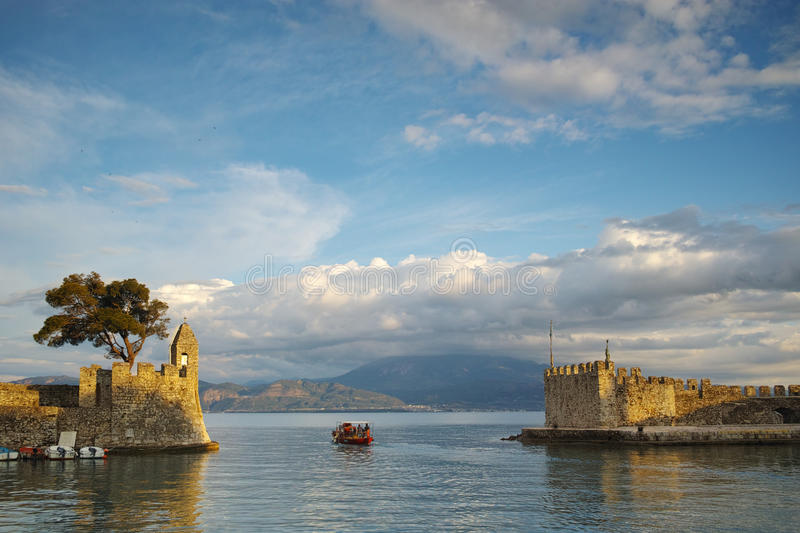 Amazing sunset of the port of Nafpaktos town, Greece. Amazing sunset of the port of Nafpaktos town, Western Greece stock photos