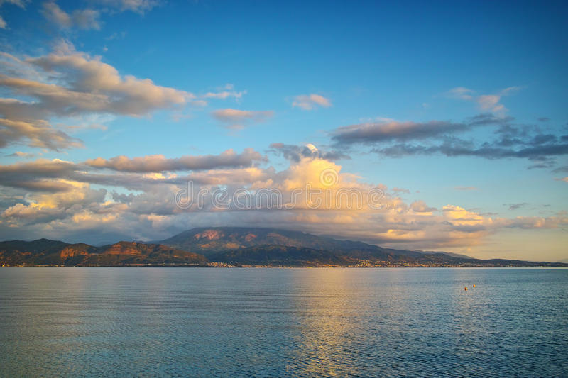 Amazing Sunset seascape from Nafpaktos, Patra, Greece. Amazing Sunset seascape from Nafpaktos, Patra, Western Greece royalty free stock images