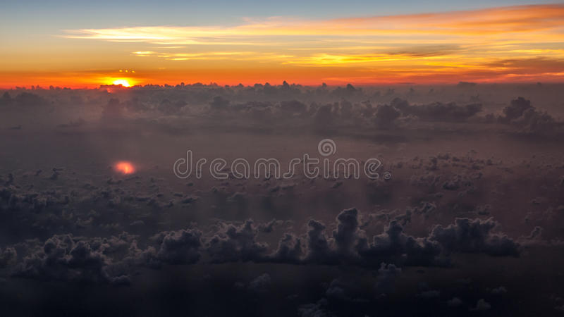 Amazing sunset in the skies. Over costa rica stock photography