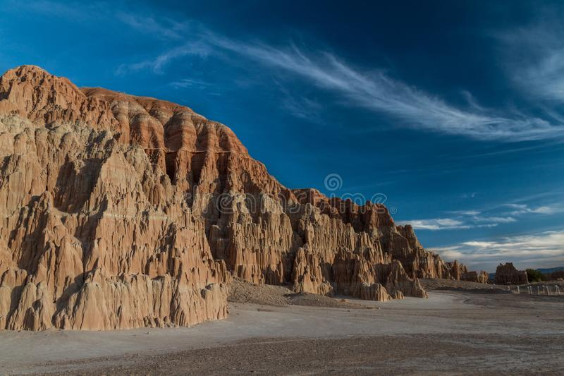 The amazing sunset sky and landscape of Cathedral Gorge State Park in Nevada royalty free stock images