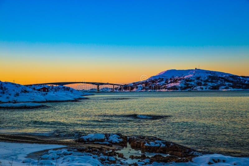 Amazing sunset in Sommaroy Northern Norway Scandinavia Europe royalty free stock photo
