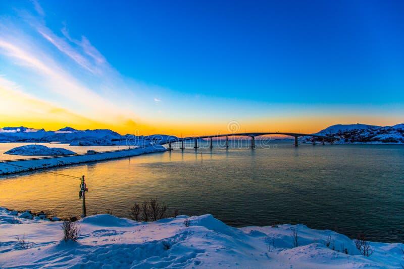 Amazing sunset in Sommaroy Northern Norway Scandinavia Europe stock photo