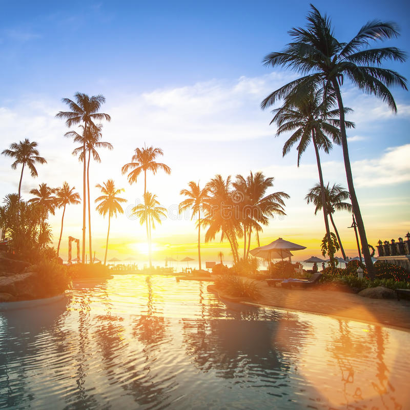 Tropical Beach And Peaceful Ocean: Amazing Sunset On The Tropical Ocean Beach. Travel. Stock