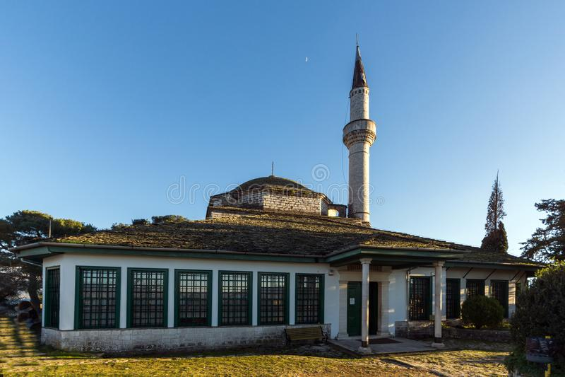 Amazing Sunset view of Aslan Pasha Mosque in castle of city of Ioannina, Epirus, Greece royalty free stock photos