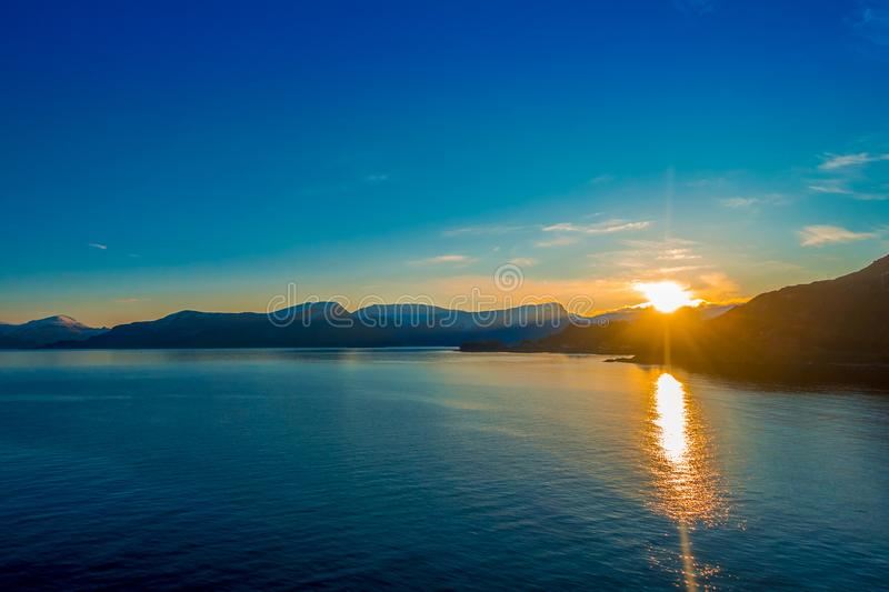 Amazing sunset view from cruise in Hurtigruten area in Norway.  royalty free stock images
