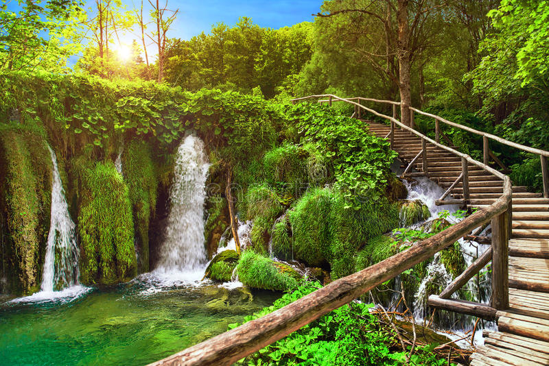 Amazing sunset waterfall in Plitvice Lakes National Park, Croatia, Europe stock photography