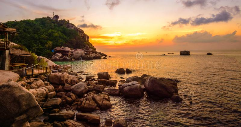 The amazing sunsets of Koh Tao stock photography