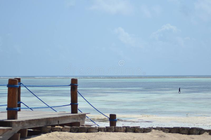 Amazing tide Zanzibar Beach hotel royalty free stock photography